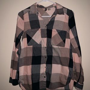 Pink&Black Flannel Button Down Size 2